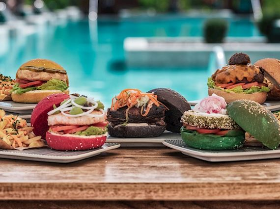 unlimited burgers by the poolside